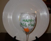 Handpainted  Wine Glass Happy Fall Y'All
