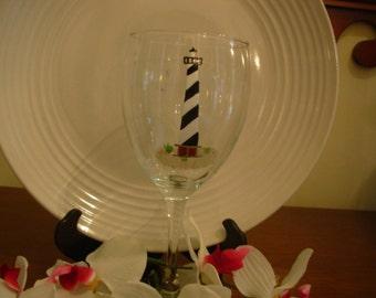 Cape Hatteras Wine Glass, Lighthouse Wine Glass, Personalized Wine Glass, Painted Wine Glass, Nautical Wine Glass, Beachy Wine Glass