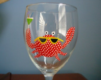 Crab Wine Glass Handpainted Personalized, nautical glass, painted crab glass, painted glassware
