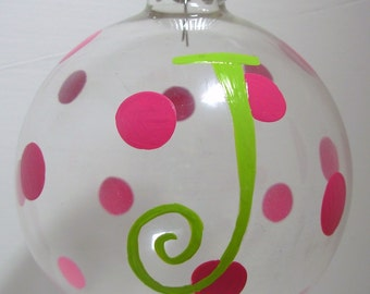 Initial Christmas Ornament Handpainted Glass Ball