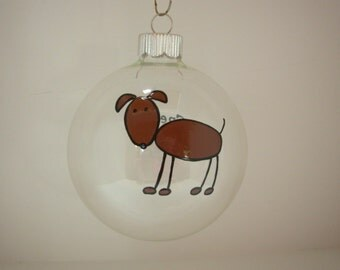 Dog Christmas Ornament Personalized Handpainted, Dog Lover's Ornament, Holiday Gift, Personalized Dog Ornament, Handpainted Christmas Gift