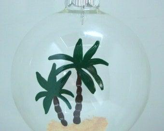 Palm Tree Christmas Ornament Glass Ball Handpainted, Beachy Ornament, Christmas Ornament, Nautical Ornament, Palm Tree Ornament,