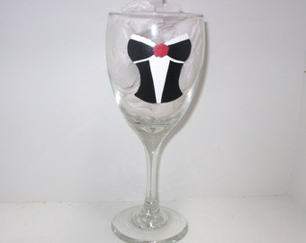 Handpainted Bachelorette Party Wine Glass Personalized