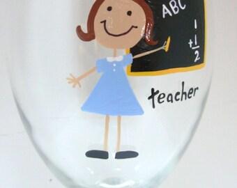 Handpainted Teacher Wine Glass, personalized glass, teacher wine glass, teacher gift, school gift