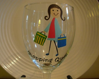 Shopping Wine Glass Handpainted Personalized, handpainted glassware, painted wine glass, shopping queen glass