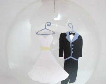 Wedding Christmas  Ornament Handpainted Glass Ball