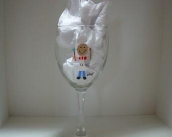 Chef Wine Glass Handpainted