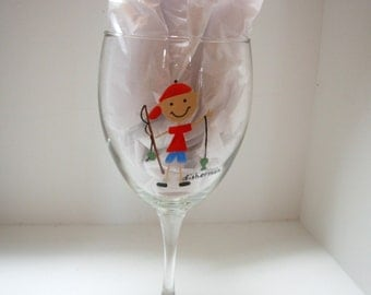Fisherman Wine Glass, Handpainted Wine Glass, Father's Day Gift, Personalized Wine Glass, Personalized Gift, Whimsical Wine Glass