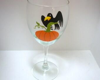 Halloween Wine Glass Handpainted Pumpkin Personalized