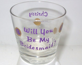 Bridesmaid Shot Glass Handpainted Personalized, bridesmaid gift, painted wedding glass