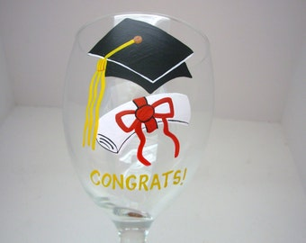 Handpainted Graduation Wine Glass  Personalized