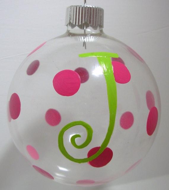 Initial Christmas Ornament Handpainted Glass Ball