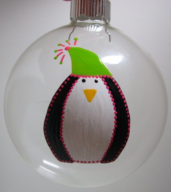 Penguin christmas ornament handpainted glass ball personalized
