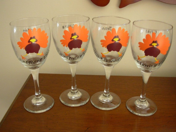 Handpainted thanksgiving turkey wine glasses set of by