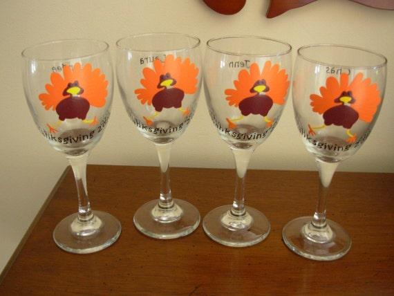 Handpainted thanksgiving turkey wine glasses set of