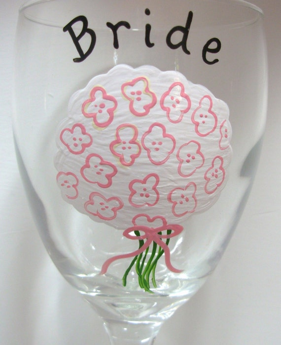 Bridal  Bouquet Wine Glass, Handpainted for Wedding Party, Birdesmaid Gift, Maid of Honor Gift, Mother of the Bride Gift, Personalized Wine