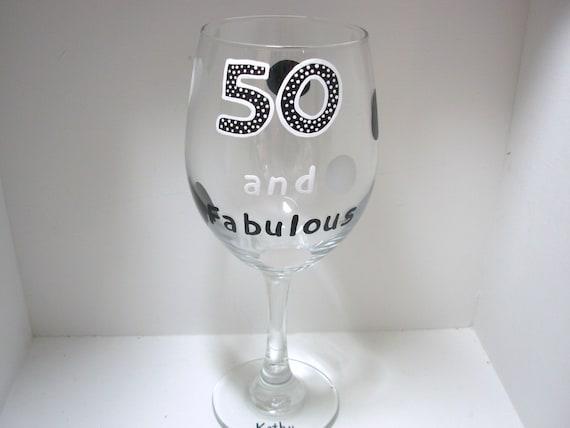 50th Birthday Wine Glass Handpainted Oversized