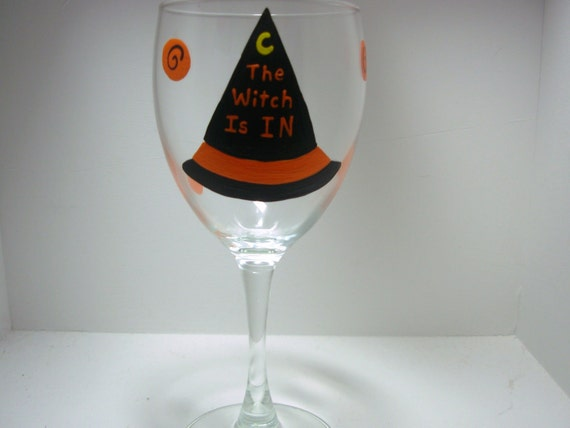 Handpainted Witch's Hat Halloween Wine Glass