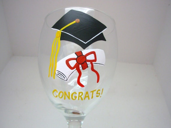 Handpainted Graduation Wine Glass  Personalized