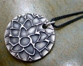 Abstract Flower......Handcrafted Fine Silver Necklace