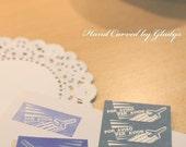 Hand Carved PAR AVION Rubber Stamp (Made to Order)