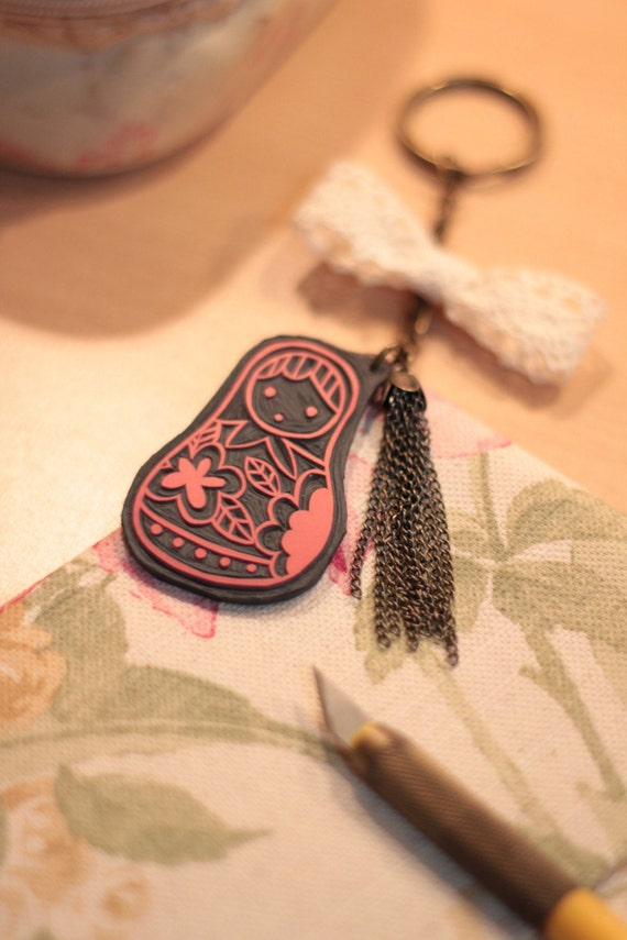 Hand Carved MATRYOSHKA (Russian) DOLL Rubber Stamp plus Key chain (Made to Order)