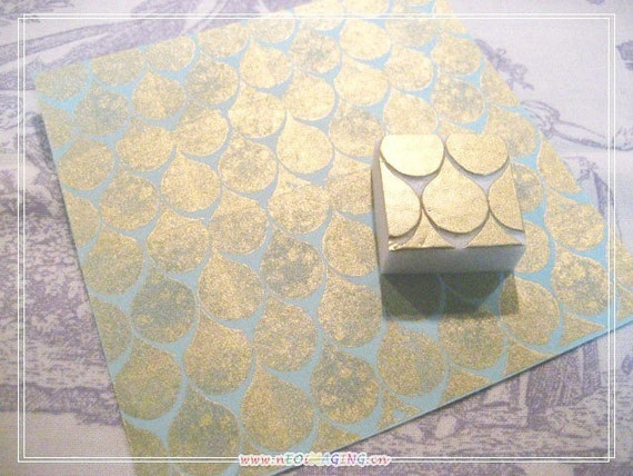 Hand Carved DROPS PATTERN Rubber Stamp (Made to Order)