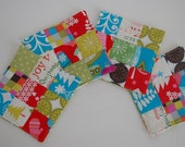 Set of 4 Coasters / made from Michael Miller fabric/ christmas