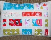 Quilted Christmas Pillow case 12 x 16 inch Modern pop Michael Miller design fabric