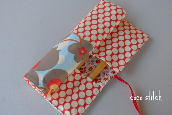 Maku up roll, Brush case, pencil roll, size large, Amy Butler fabric