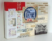 Old House Original Paper Collage  - Meandering Through Homes For Fun