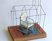 A House with a Reading Chair  Original Wire Mixed Media Altered Book  Old Stories and New