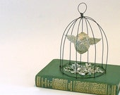 """Paper Mache Egg with Wings Altered Book with Wire Cloche- """" He Flew The Coop"""""""
