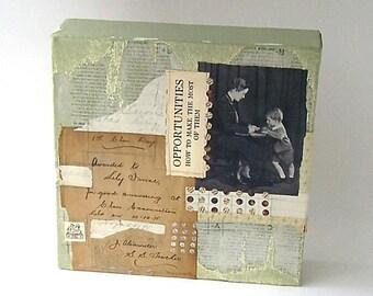 "Vintage Paper 1918 School Classroom Collage   ""1st Class Prize"""
