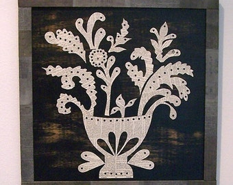 Primitive Flower Basket Vintage Paper Collage Sign Board