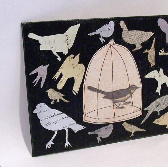 Bird Silhouette Collage with Sewn Birdcage