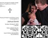 Photo Baptism Invitation Black and White Damask Christening