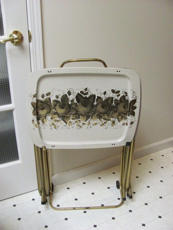 Vintage 1960s TV Tray Set with Rolling Cart
