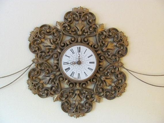 Vintage / Golden Baroque /   Swag Ensemble Wall Clock and Sconces