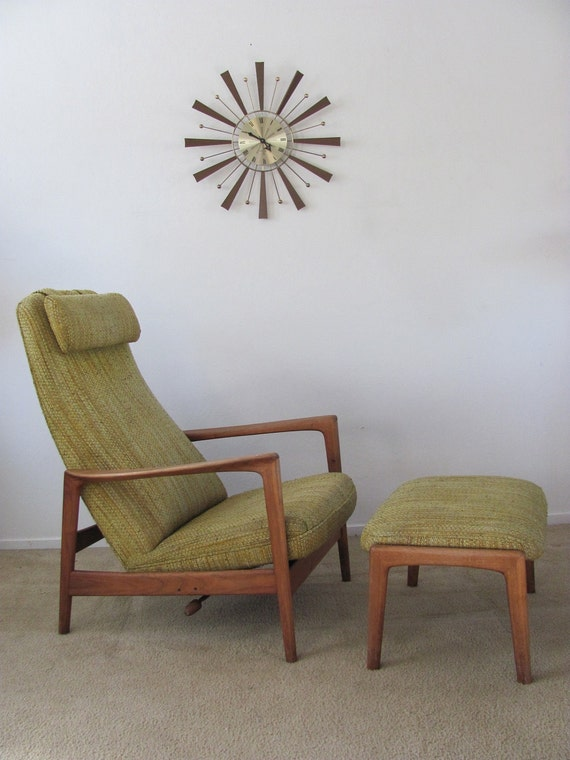 Vintage Mid Century Danish  Modern / Dux / Reclining High Back Lounge Chair and Ottoman