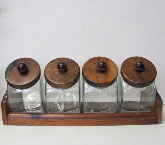 Vintage / General Store Style/ Glass Canister Set with Rack / 1970s