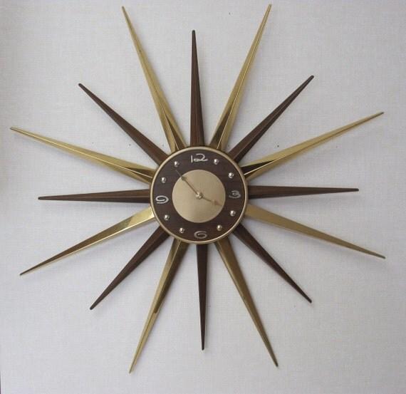 Reserved for Dioptasel Vintage Mid Century Modern  / Starburst Wall Clock / Atomic