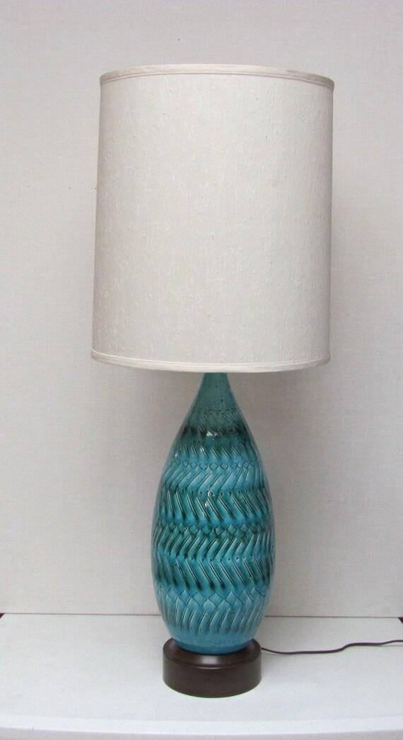 Vintage Mid Century /  Tall Aqua / Ceramic Glazed /  Table Lamp