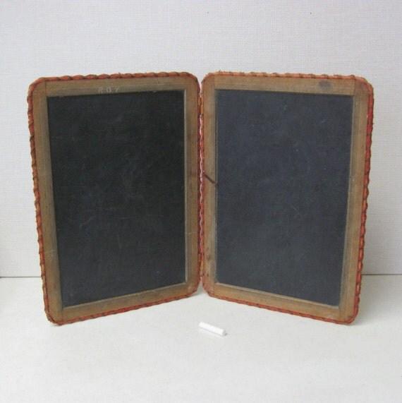 Antique Slate Chalkboard /  School Tablet  / Folding / Four Sides