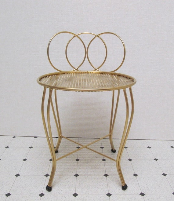 Vanity Chair / Duchess Chair / Three Rings /  Punched Metal Seat / Vintage