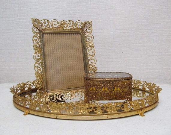 Vanity Set / Gold Metal Filigree /  Fancy / Vanity Tray / Frame  / Jewelry Casket/ Vintage