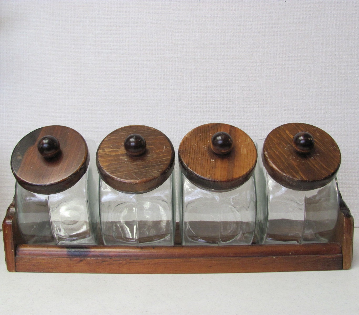 Rustic Kitchen Canisters Vintage General Store Style Glass Canister Set With Rack