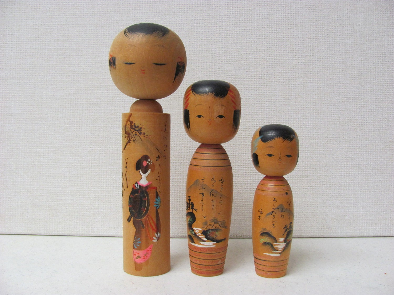 Vintage Kokeshi Dolls / Wood Dolls / Set of Three
