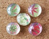 christmas poinsettia marble push pins - set of 5