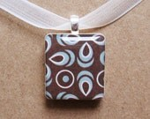 blue and brown scrabble tile pendant necklace